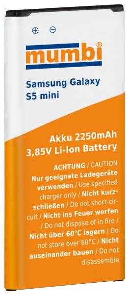 Ersatzakku Lithium-Ionen 2250 mAh (ohne NFC) für Samsung Galaxy S5 Mini