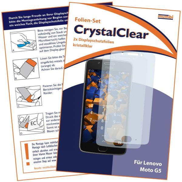 Displayschutzfolie 2 Stck. CrystalClear für Motorola Moto G5
