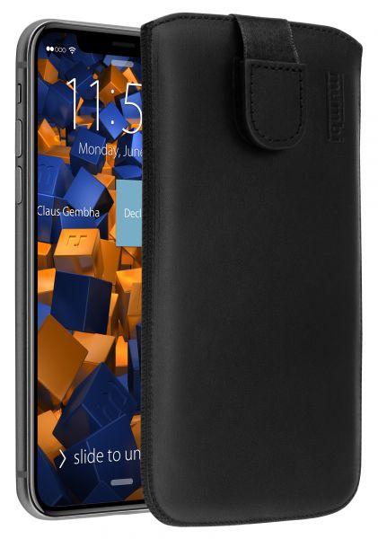 Leder Etui Tasche mit Ausziehlasche schwarz für Apple iPhone XS / X