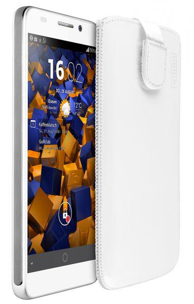 Leder Etui Tasche mit Ausziehlasche weiß für Huawei Honor 6