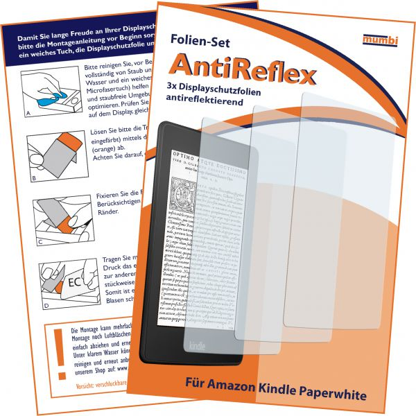 Displayschutzfolie 3 Stck. AntiReflex für Amazon Kindle Paperwhite