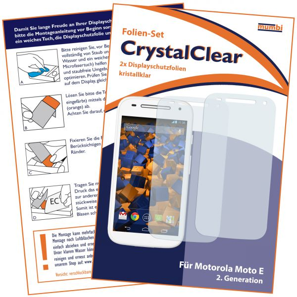 Displayschutzfolie 2 Stck. CrystalClear für Motorola Moto E 2. Generation
