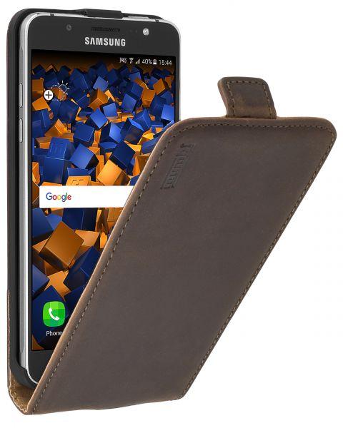 Flip Case Ledertasche braun für Samsung Galaxy J5 (2016)