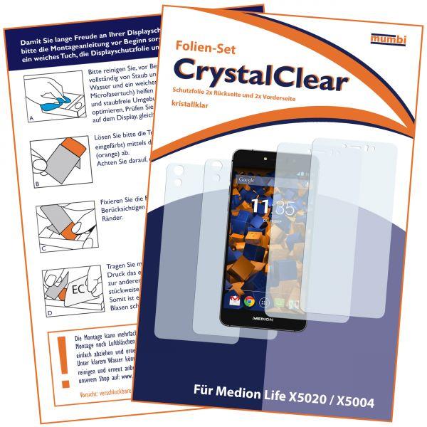 Displayschutzfolie 4 Stck. CrystalClear für Medion Life X5020 / X5004 (2x vorne + 2x hinten)