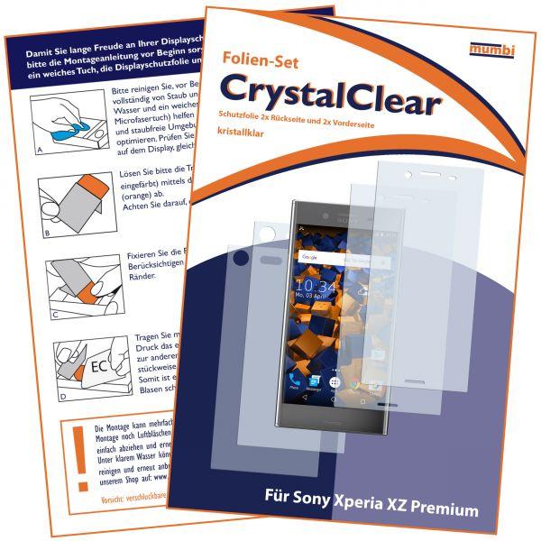 Displayschutzfolie 4 Stck. CrystalClear für Sony Xperia XZ Premium (2x vorne und 2x hinten)