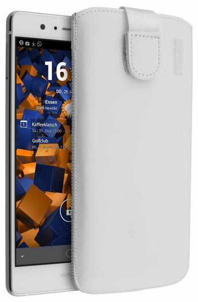 Leder Etui Tasche mit Ausziehlasche weiß für Huawei P9 Lite