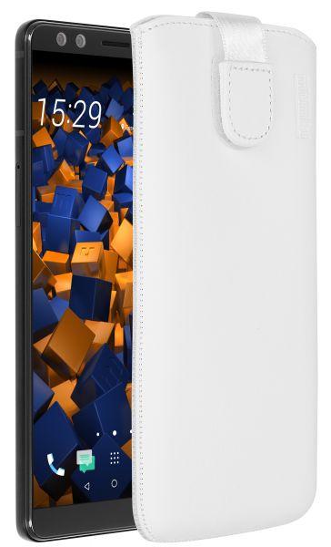 Leder Etui Tasche mit Ausziehlasche weiß für HTC U12 Plus