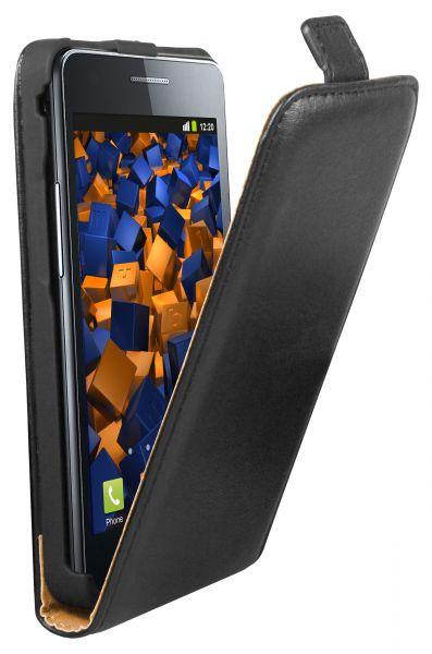 Flip Case Ledertasche schwarz für Samsung Galaxy S2 Plus