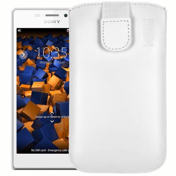 Leder Etui Tasche mit Ausziehlasche weiß für Sony Xperia M2 / M2 Aqua