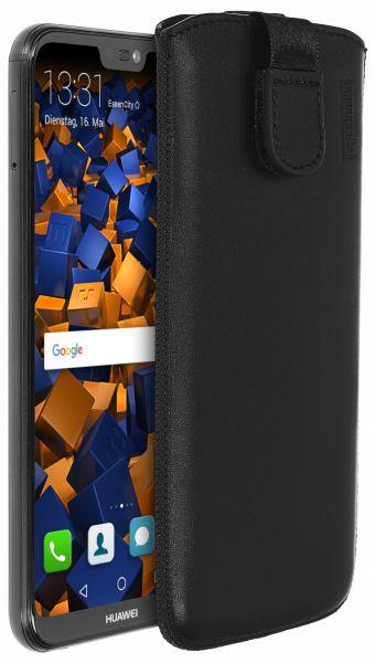Leder Etui Tasche mit Ausziehlasche schwarz für Huawei P20 Lite