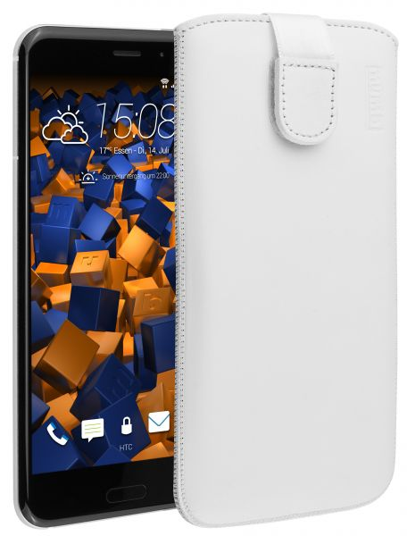 Leder Etui Tasche mit Ausziehlasche weiß für HTC U11