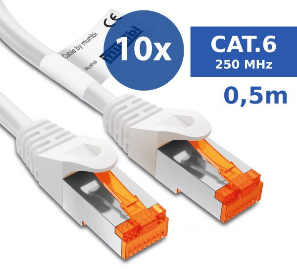 10er Set CAT 6 Ethernet Lan Netzwerkkabel 0,5 Meter Kabel in Weiß