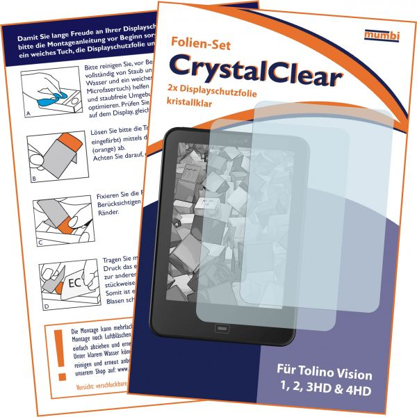 Displayschutzfolie 2 Stck. CrystalClear für Tolino Vision 1, 2, 3HD & 4HD