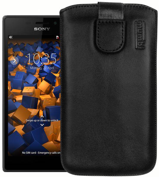 Leder Etui Tasche mit Ausziehlasche schwarz für Sony Xperia M2 / M2 Aqua
