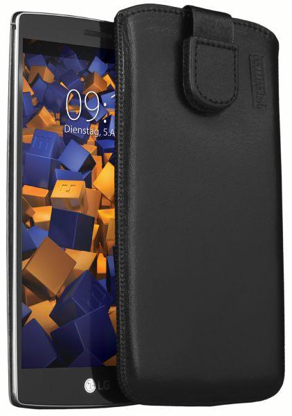 Leder Etui Tasche mit Ausziehlasche schwarz für LG G4s