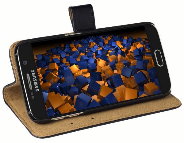 Bookstyle Ledertasche schwarz für Samsung Galaxy S6 / S6 Duos