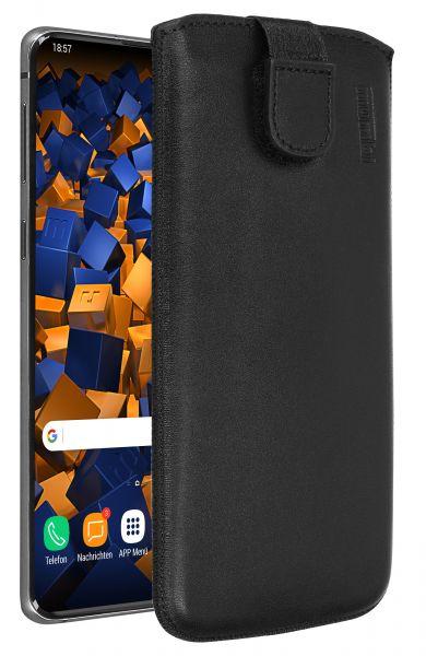 Leder Etui Tasche mit Ausziehlasche schwarz für Samsung Galaxy S10