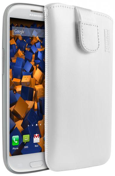 Leder Etui Tasche mit Ausziehlasche weiß für Sony Xperia V