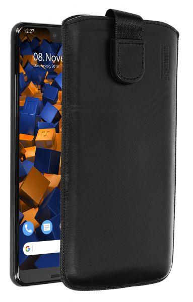 Leder Etui Tasche mit Ausziehlasche schwarz für Google Pixel 3 XL