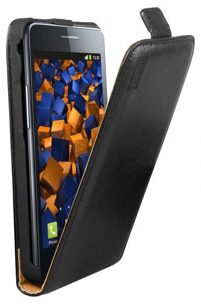 Flip Case Ledertasche schwarz für Samsung Galaxy S2