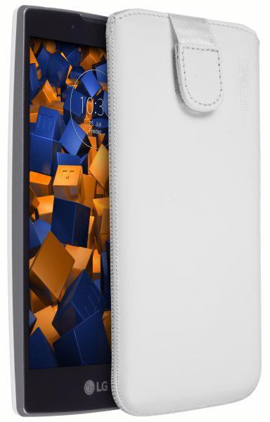Leder Etui Tasche mit Ausziehlasche weiß für LG Magna / G4c