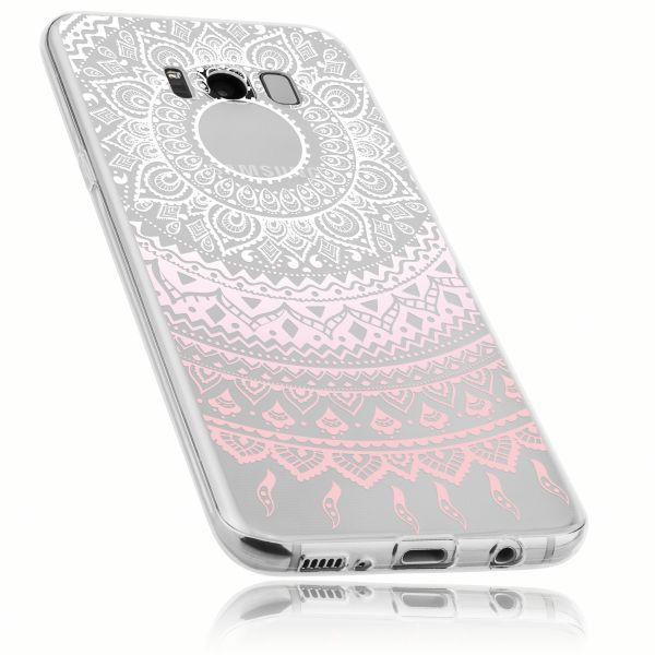 TPU Hülle Ultra Slim transparent weiß rosa Motiv Mandala für Samsung Galaxy S8 Plus