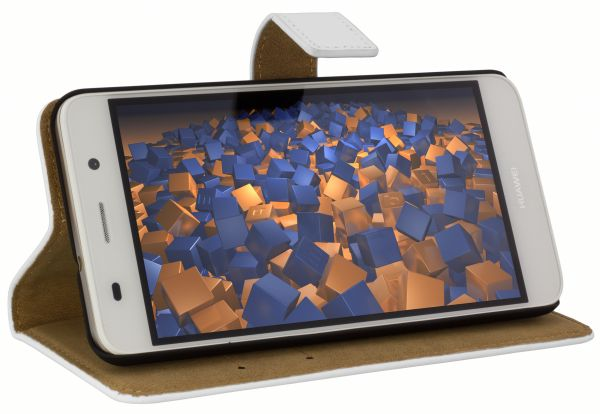 Bookstyle Ledertasche weiß für Huawei Y6 (2015)