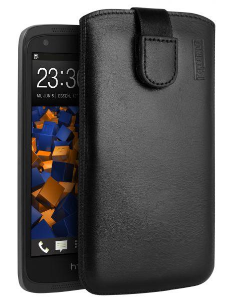 Leder Etui Tasche mit Ausziehlasche schwarz für HTC Desire 526G