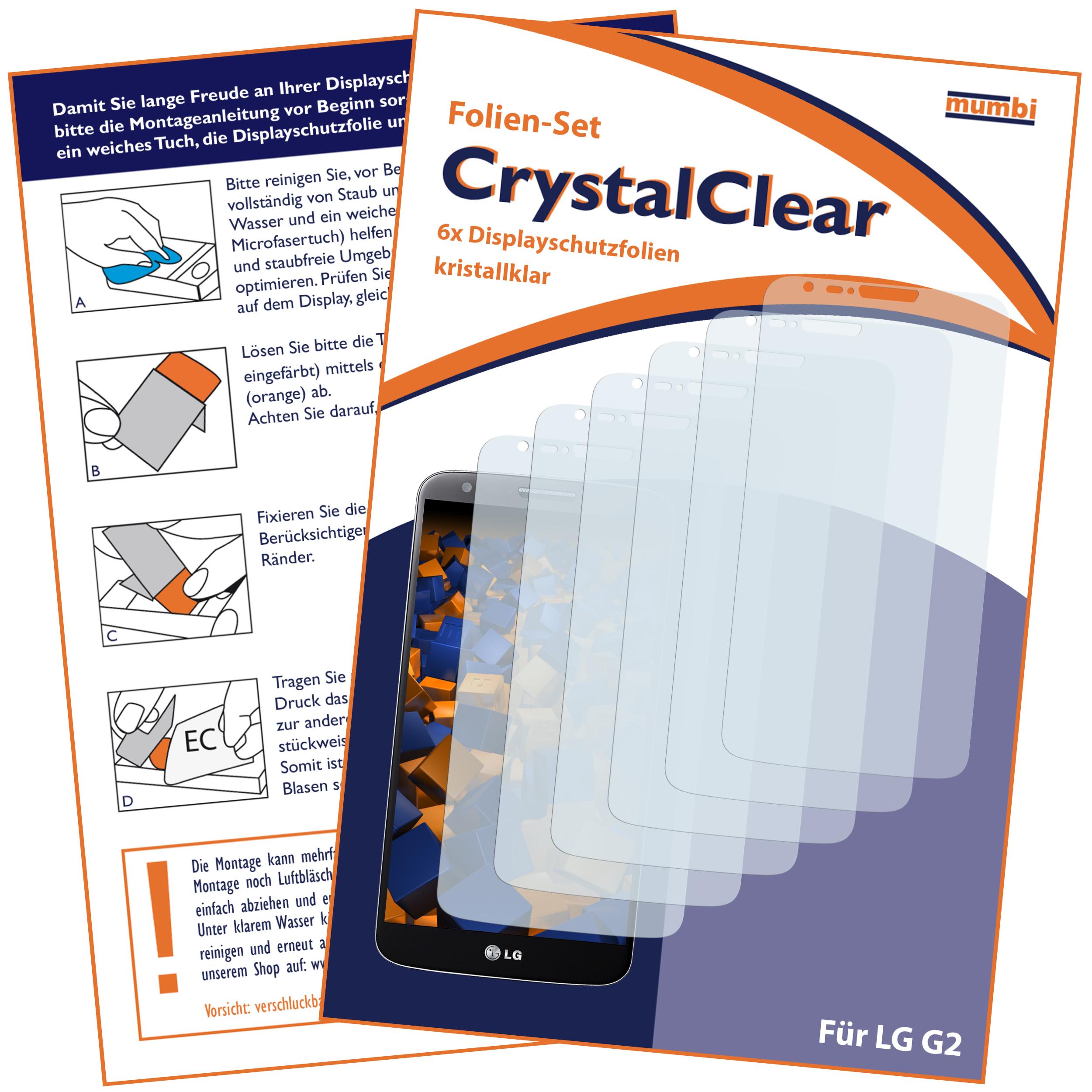 Displayschutzfolie 6 Stck. CrystalClear für LG G2 ...