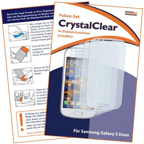 Displayschutzfolie 4 Stck. CrystalClear für Samsung Galaxy S Duos / Duos 2