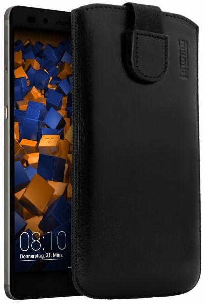 Leder Etui Tasche mit Ausziehlasche schwarz für Huawei Honor 7 / Honor 7 Premium