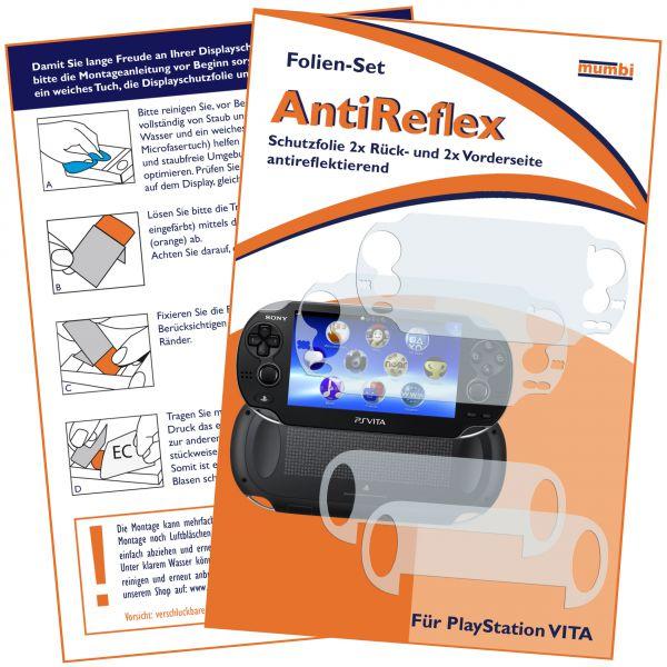 Displayschutzfolie 4 Stck. AntiReflex für Sony PlayStation Vita (2x vorne und 2x hinten)