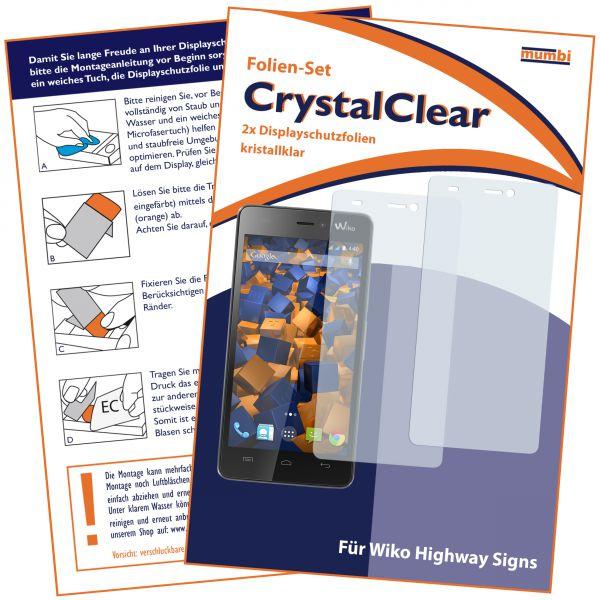 Displayschutzfolie 2 Stck. CrystalClear für Wiko Highway Signs