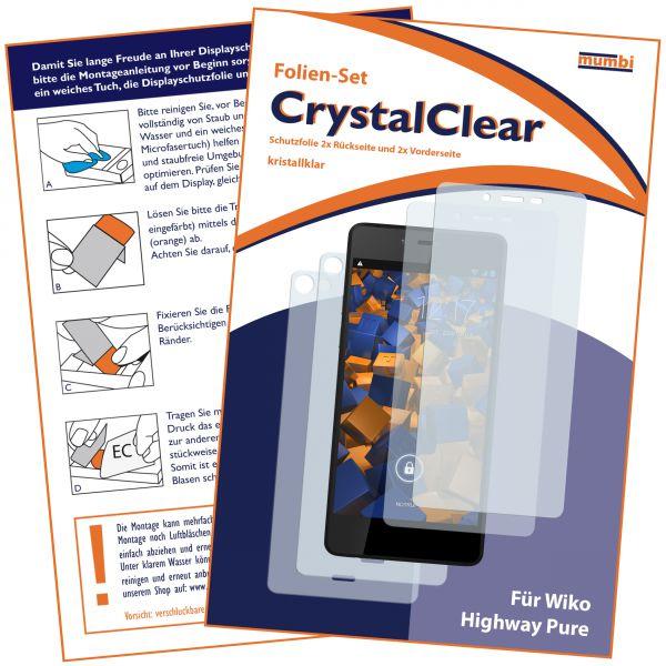 Displayschutzfolie 4 Stck. CrystalClear für Wiko Highway Pure 4G (2x vorne und 2x hinten)