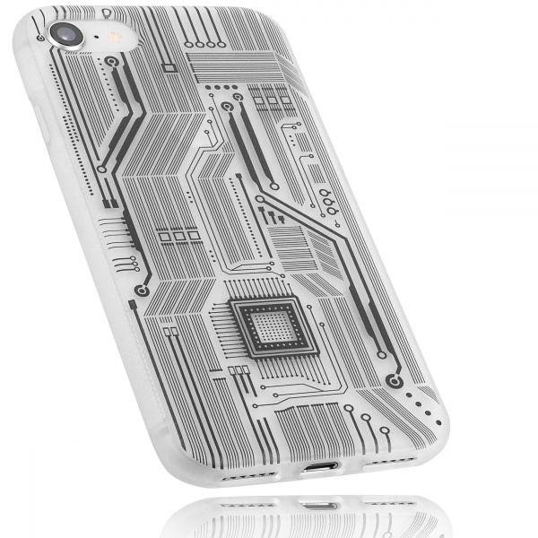 TPU Hülle Grip weiß transparent Motiv Leiterbahnen für Apple iPhone 8 / 7