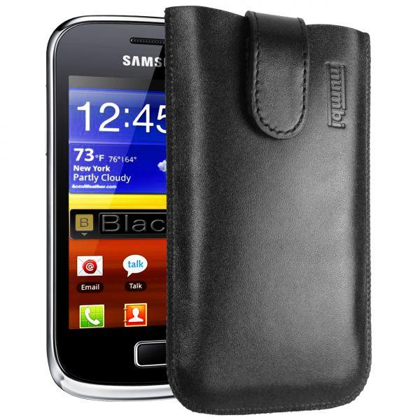 Leder Etui Tasche mit Ausziehlasche schwarz für Samsung Galaxy Mini 2