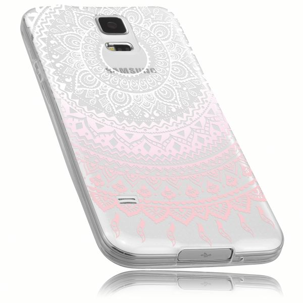 TPU Hülle transparent weiß rosa Motiv Mandala für Samsung Galaxy S5 / Galaxy S5 Neo