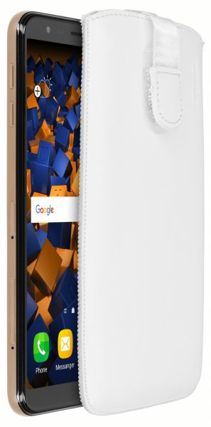 Leder Etui Tasche mit Ausziehlasche weiß für Samsung Galaxy J4 Plus