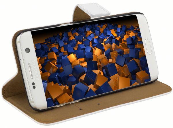 Bookstyle Ledertasche weiß für Samsung Galaxy S7 Edge