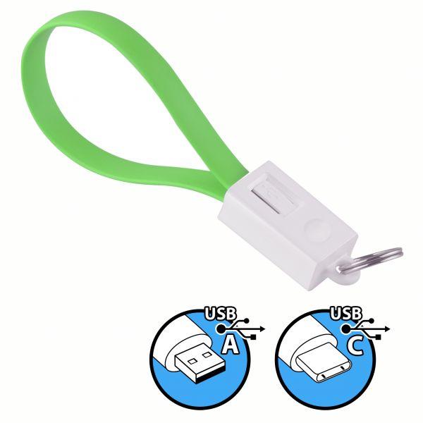 Daten- und Ladekabel USB A auf USB C Stecker Schlüsselanhänger in Grün