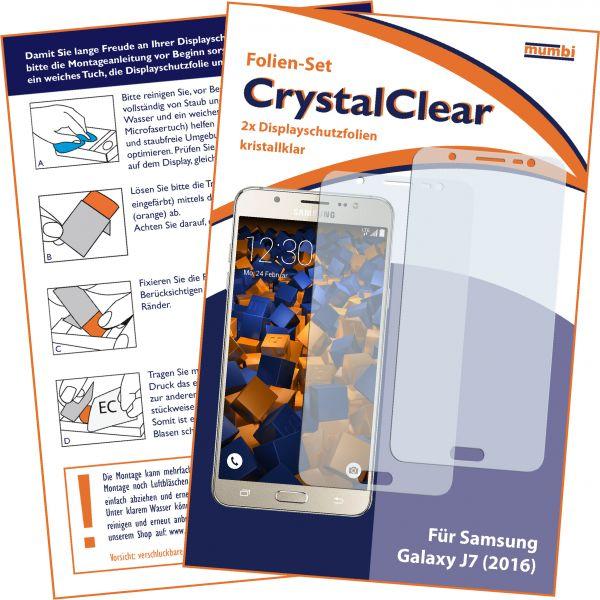 Displayschutzfolie 2 Stck. CrystalClear für Samsung Galaxy J7 (2016)
