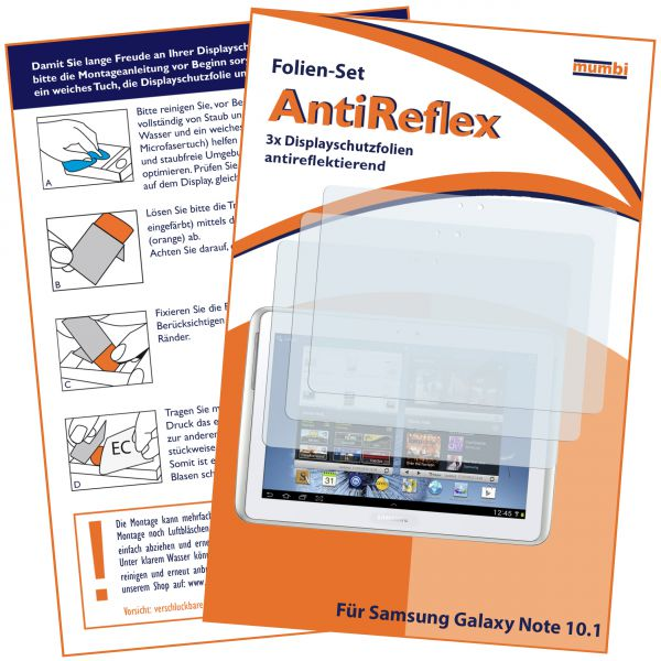 Displayschutzfolie 3 Stck. AntiReflex für Samsung Galaxy Note 10.1