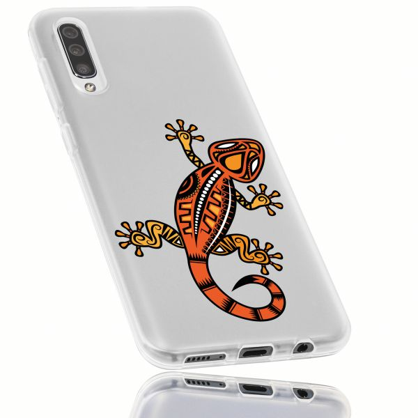 TPU Hülle weiß transparent Motiv Gecko für Samsung Galaxy A50