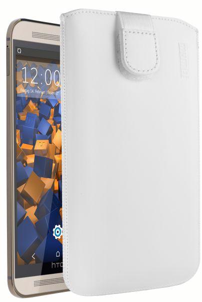 Leder Etui Tasche mit Ausziehlasche weiß für HTC One M9
