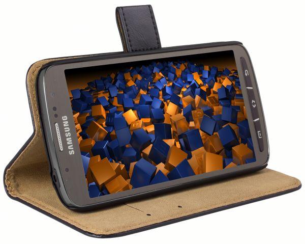 Bookstyle Ledertasche schwarz für Samsung Galaxy S4 Active