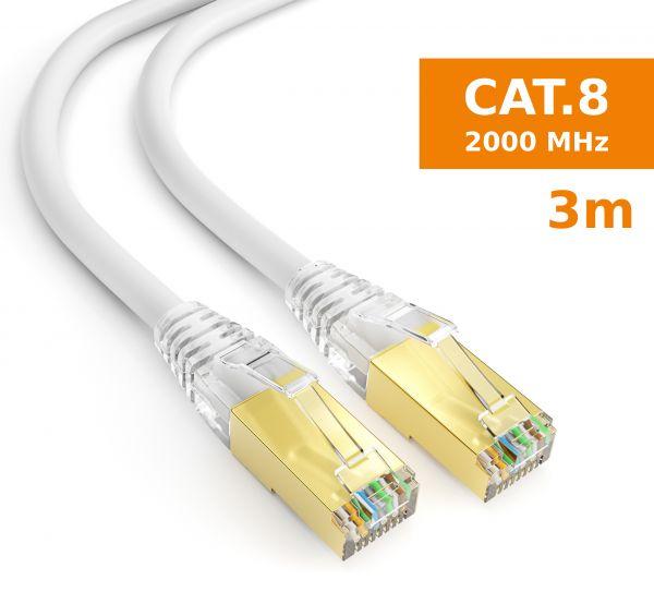 CAT 8 Rohkabel mit RJ45 Steckern Netzwerkkabel 3 Meter Kabel in Weiß