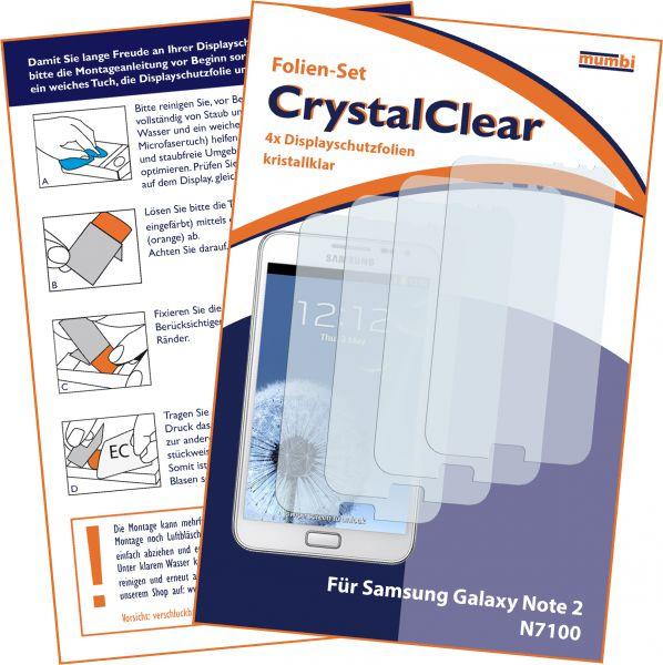 Displayschutzfolie 4 Stck. CrystalClear für Samsung Galaxy Note 2