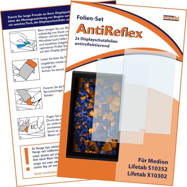 Displayschutzfolie 2 Stck. AntiReflex für Medion Lifetab S10352 / Lifetab X10302