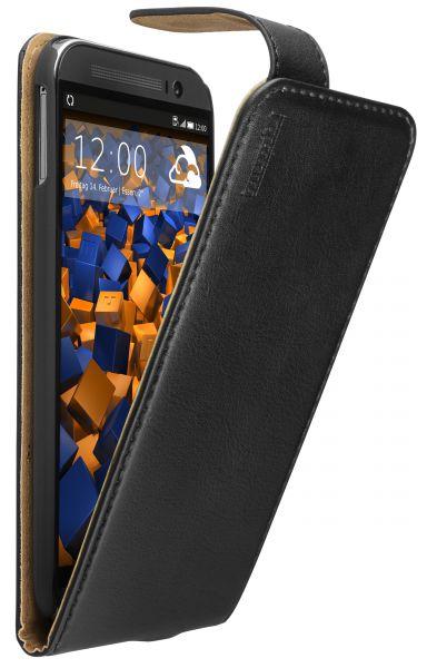 Flip Case Ledertasche schwarz für HTC One M8 / M8s