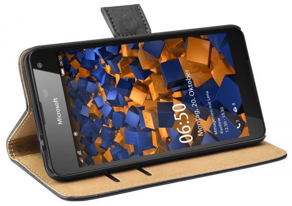 Bookstyle Tasche schwarz für Microsoft Lumia 650